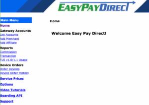 Easy Pay Direct Gateway Menu